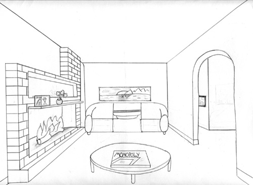 1pt perspective wmorey15 - One point perspective drawing living room ...
