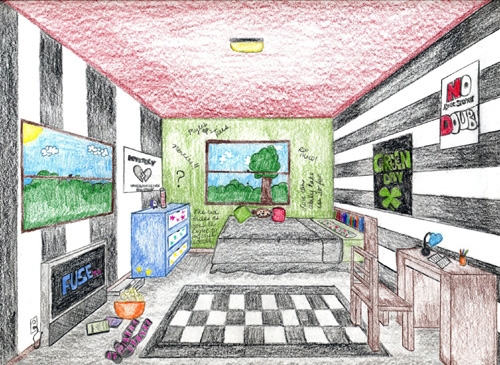 one point perspective bedroom drawing home design 2017